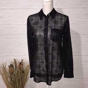 Equipment Plaid Sheer Button-Down Top - XS